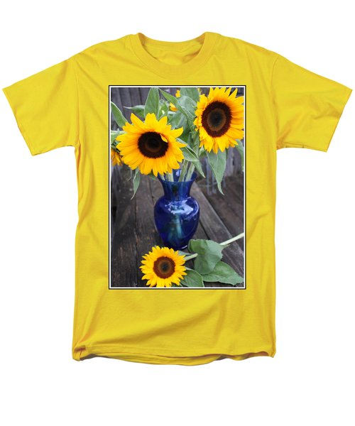 Sunflowers And Blue Vase - Still Life Men's T-Shirt  (Regular Fit) by Dora Sofia Caputo Photographic Art and Design