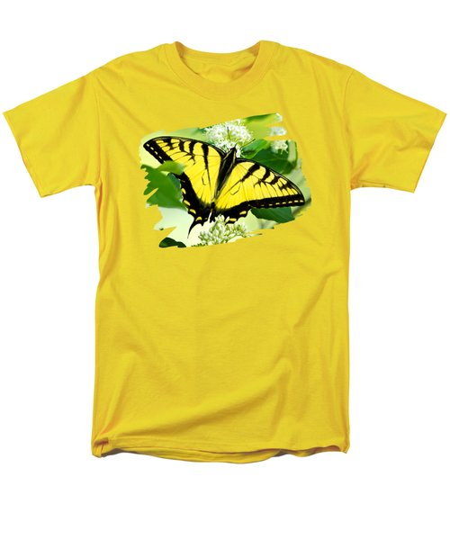 Swallowtail Butterfly Feeding On Flowers Men's T-Shirt  (Regular Fit) by Christina Rollo