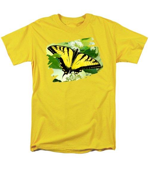 Swallowtail Butterfly Feeding On Flowers Men's T-Shirt  (Regular Fit)