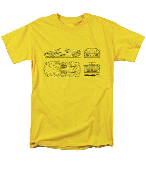 The F430 Blueprint - White Men's T-Shirt  (Regular Fit) by Mark Rogan