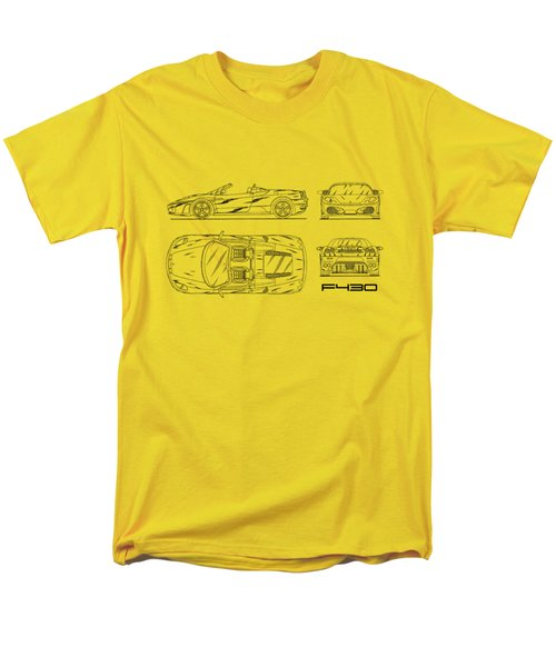The F430 Blueprint - White Men's T-Shirt  (Regular Fit)