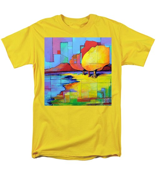 Men's T-Shirt  (Regular Fit) featuring the painting The Yellow Tree by Jodie Marie Anne Richardson Traugott          aka jm-ART