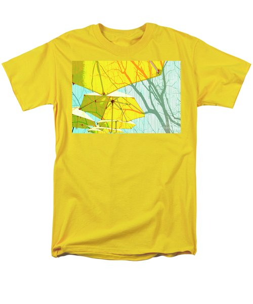 Umbrellas Yellow Men's T-Shirt  (Regular Fit) by Deborah Nakano