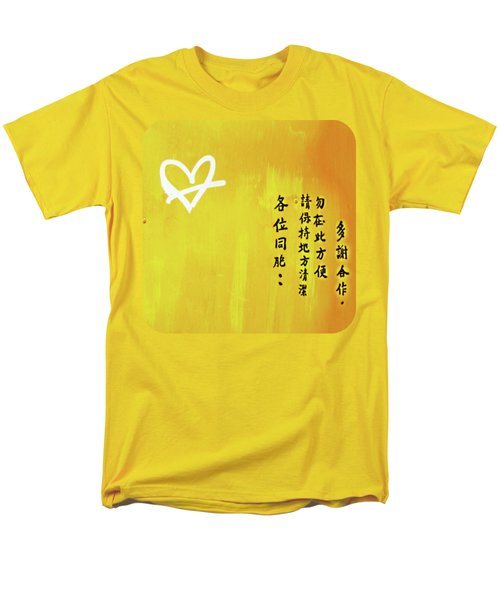 Men's T-Shirt  (Regular Fit) featuring the photograph White Heart On Orange by Ethna Gillespie