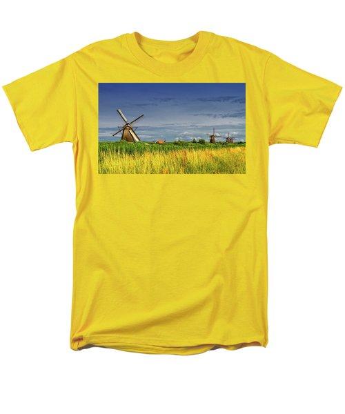 Windmills In Kinderdijk, Holland, Netherlands Men's T-Shirt  (Regular Fit) by Elenarts - Elena Duvernay photo