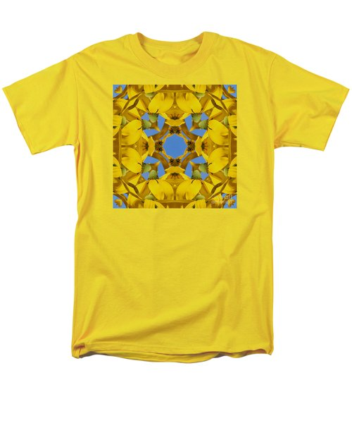 Yellow Coneflower Kaleidoscope Men's T-Shirt  (Regular Fit) by Smilin Eyes  Treasures