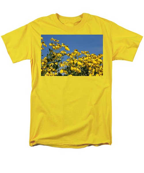 Men's T-Shirt  (Regular Fit) featuring the photograph Yellow On Blue by Lois Lepisto