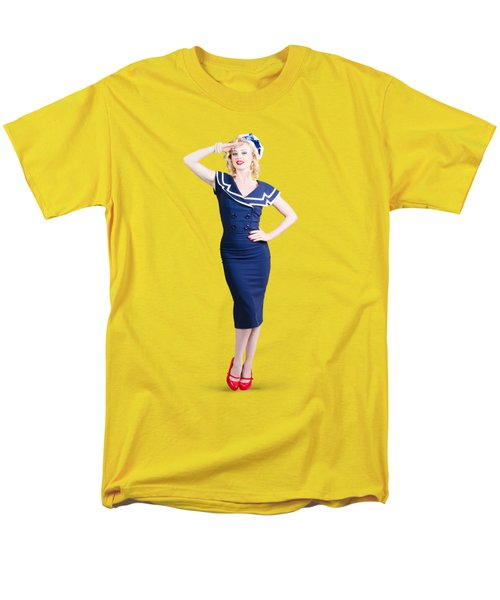 Young Retro Pinup Girl Wearing Sailor Uniform Men's T-Shirt  (Regular Fit) by Jorgo Photography - Wall Art Gallery