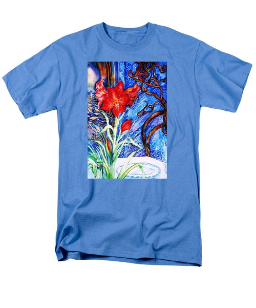 Men's T-Shirt  (Regular Fit) featuring the painting  Red Amaryllis  by Trudi Doyle