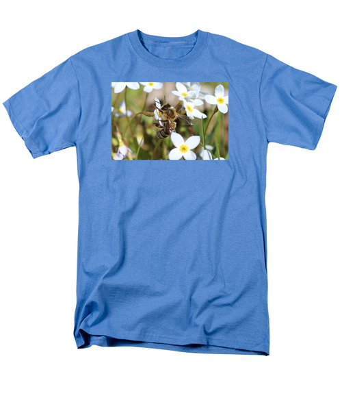 Honeybee On Bluet Men's T-Shirt  (Regular Fit) by Lucinda VanVleck
