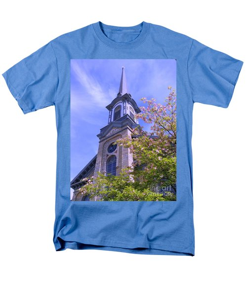 Men's T-Shirt  (Regular Fit) featuring the photograph Steeple Church Arch Windows 1 by Becky Lupe
