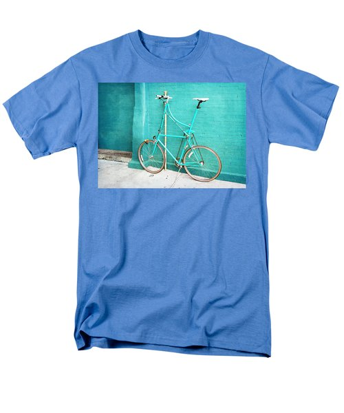 Men's T-Shirt  (Regular Fit) featuring the photograph Tall Bike On Aqua Blue Green by Brooke T Ryan