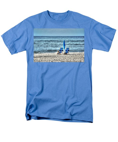 Men's T-Shirt  (Regular Fit) featuring the digital art 2 Chairs And Umbrella by Michael Thomas
