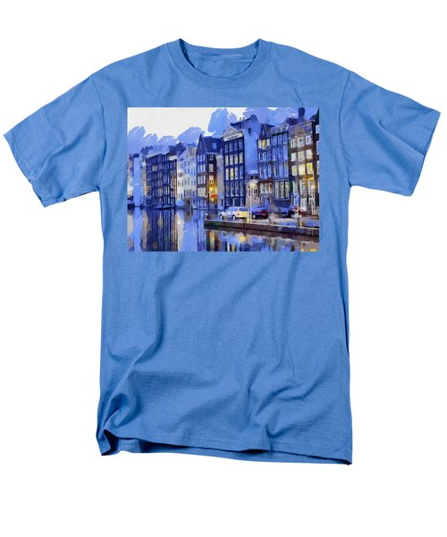 Men's T-Shirt  (Regular Fit) featuring the painting Amsterdam With Blue Colors by Georgi Dimitrov