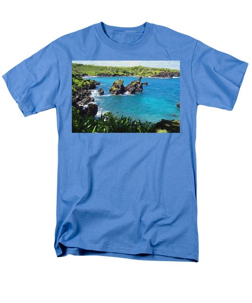 Men's T-Shirt  (Regular Fit) featuring the photograph Blue Hawaiian Lagoon Near Blacksand Beach On Maui by Amy McDaniel