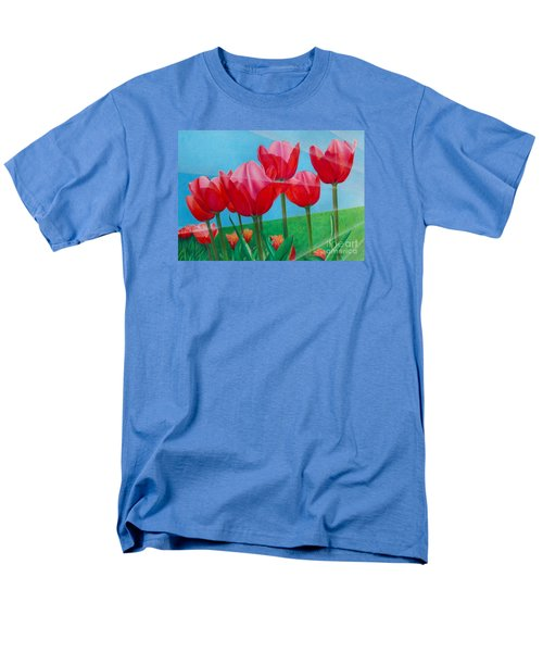 Men's T-Shirt  (Regular Fit) featuring the painting Blue Ray Tulips by Pamela Clements