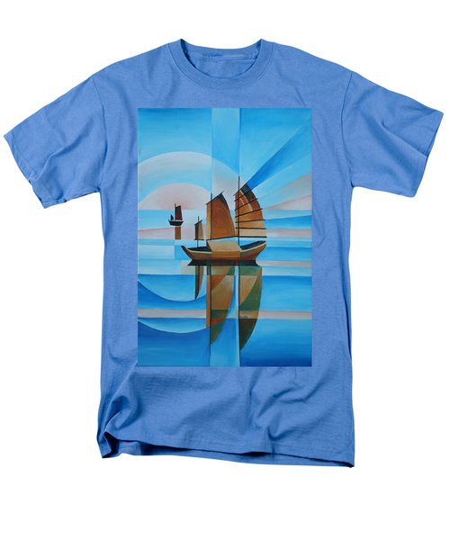 Men's T-Shirt  (Regular Fit) featuring the painting Blue Skies And Cerulean Seas by Tracey Harrington-Simpson