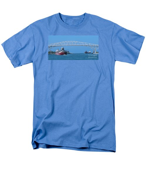 Blue Water Bridge And Freighters Men's T-Shirt  (Regular Fit) by Ann Horn