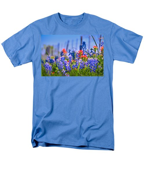 Men's T-Shirt  (Regular Fit) featuring the photograph Bluebonnet Paintbrush Texas  - Wildflowers Landscape Flowers Fence  by Jon Holiday
