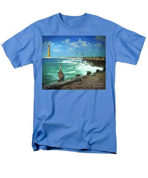 Men's T-Shirt  (Regular Fit) featuring the digital art Bulkhead At Holgate Beach by Lianne Schneider