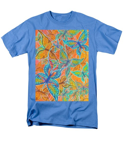Men's T-Shirt  (Regular Fit) featuring the painting Butterflies On Tangerine by Teresa Ascone