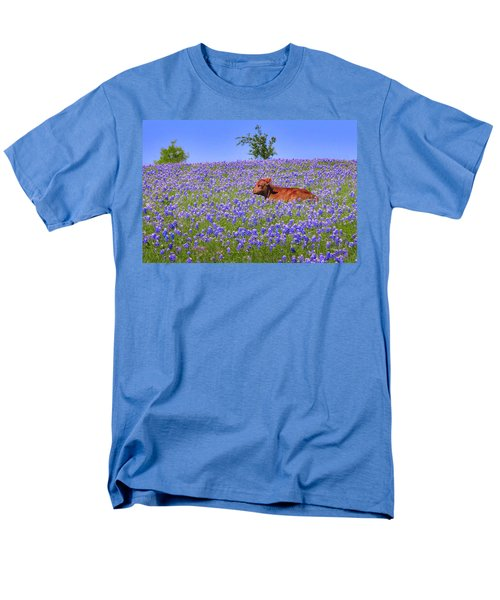 Men's T-Shirt  (Regular Fit) featuring the photograph Calf Nestled In Bluebonnets - Texas Wildflowers Landscape Cow by Jon Holiday
