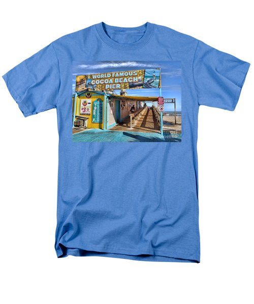 Cocoa Beach Pier In Florida Men's T-Shirt  (Regular Fit) by David Smith