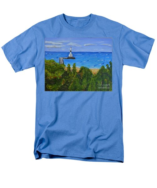 Men's T-Shirt  (Regular Fit) featuring the painting Summer, Conneaut Ohio Lighthouse by Melvin Turner