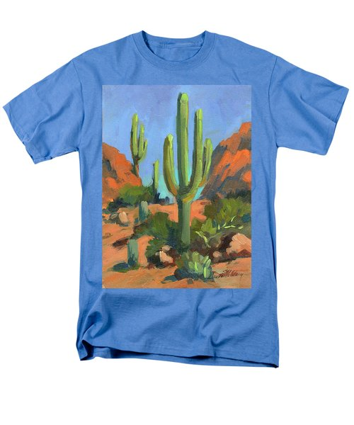 Desert Morning Saguaro Men's T-Shirt  (Regular Fit) by Diane McClary