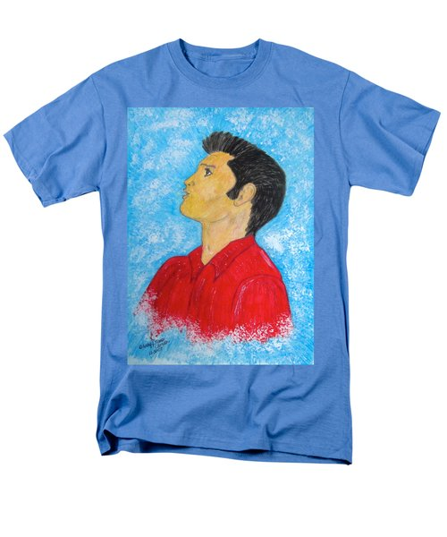 Men's T-Shirt  (Regular Fit) featuring the painting Elvis Presley Singing by Kathy Marrs Chandler