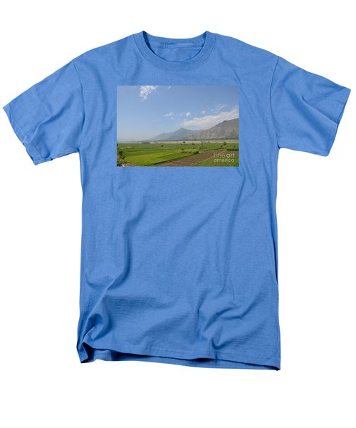 Men's T-Shirt  (Regular Fit) featuring the photograph Fields Mountains Sky And A River Swat Valley Pakistan by Imran Ahmed