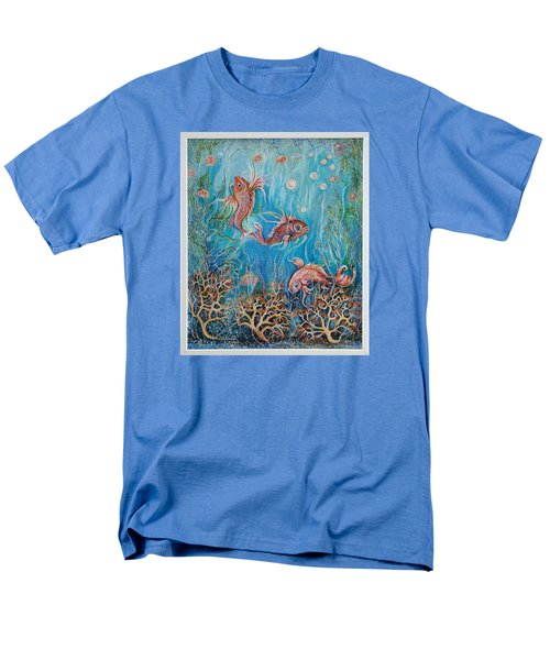 Men's T-Shirt  (Regular Fit) featuring the painting Fish In A Pond by Yolanda Rodriguez