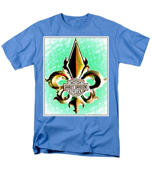 Fleurs De Lys And Harley Davidson Logo Bronze Green Men's T-Shirt  (Regular Fit) by Danielle  Parent