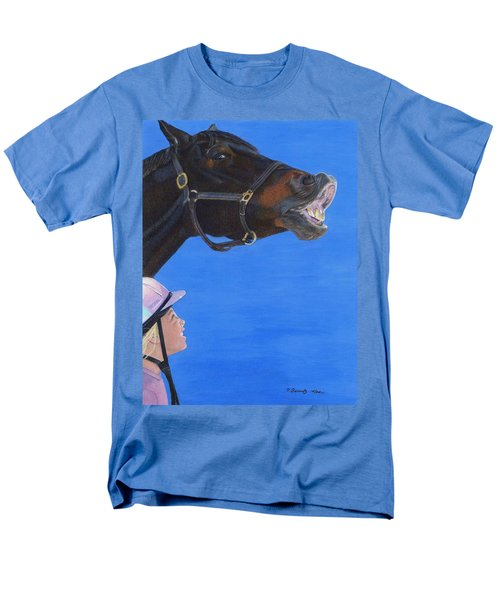 Funny Face - Horse And Child Men's T-Shirt  (Regular Fit) by Patricia Barmatz