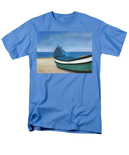 Men's T-Shirt  (Regular Fit) featuring the painting Green Boat Blue Skies by Arlene Crafton