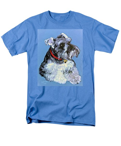 Men's T-Shirt  (Regular Fit) featuring the painting Hans The Schnauzer Original Painting Forsale by Bob and Nadine Johnston
