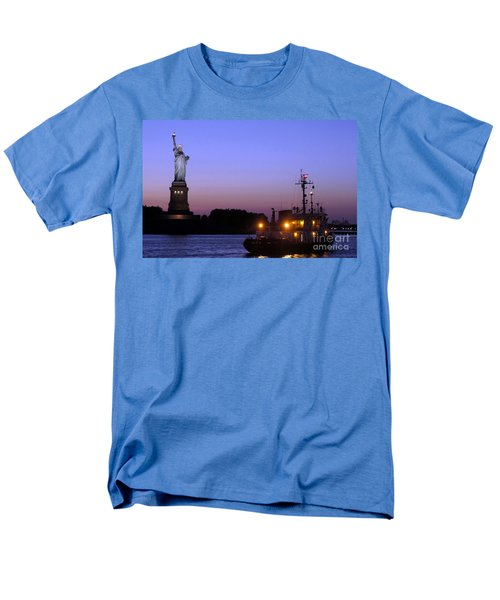 Men's T-Shirt  (Regular Fit) featuring the photograph Lady Liberty At Dusk by Lilliana Mendez