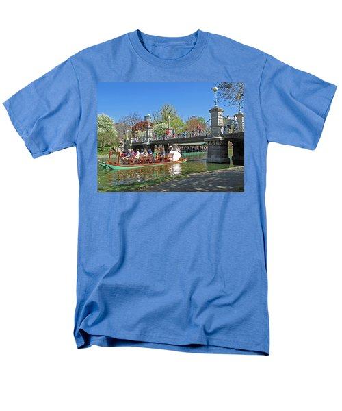 Men's T-Shirt  (Regular Fit) featuring the photograph Lagoon Bridge And Swan Boat by Barbara McDevitt