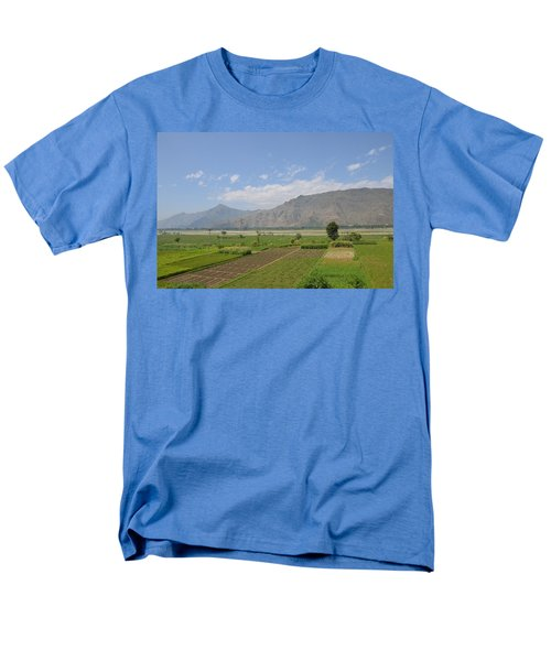 Men's T-Shirt  (Regular Fit) featuring the photograph Landscape Of Mountains Sky And Fields Swat Valley Pakistan by Imran Ahmed