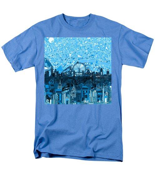 London Skyline Abstract Blue Men's T-Shirt  (Regular Fit)