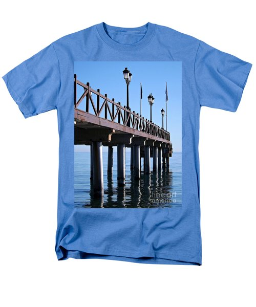 Men's T-Shirt  (Regular Fit) featuring the photograph Marbella Pier Spain by Clare Bevan