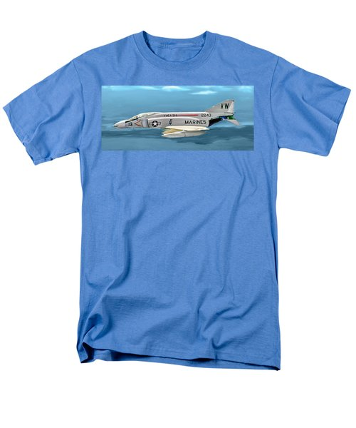 Marine F-4 Phantom  Painting Men's T-Shirt  (Regular Fit) by Bob and Nadine Johnston