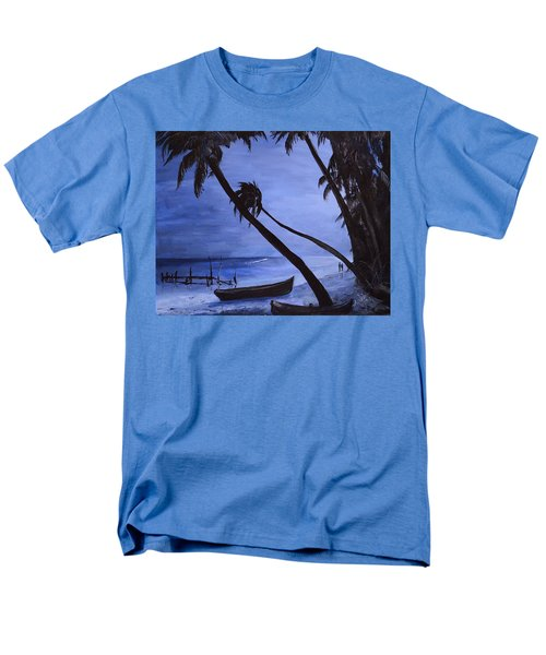 Men's T-Shirt  (Regular Fit) featuring the painting Midnight Stroll In Paradise by Alan Lakin