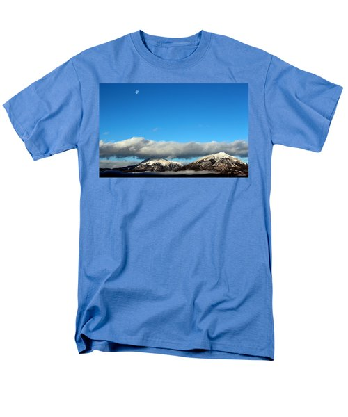 Men's T-Shirt  (Regular Fit) featuring the photograph Morning Moon Over Spanish Peaks by Barbara Chichester