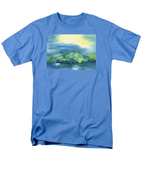 Men's T-Shirt  (Regular Fit) featuring the painting Morning Over The Mountain by Frank Bright