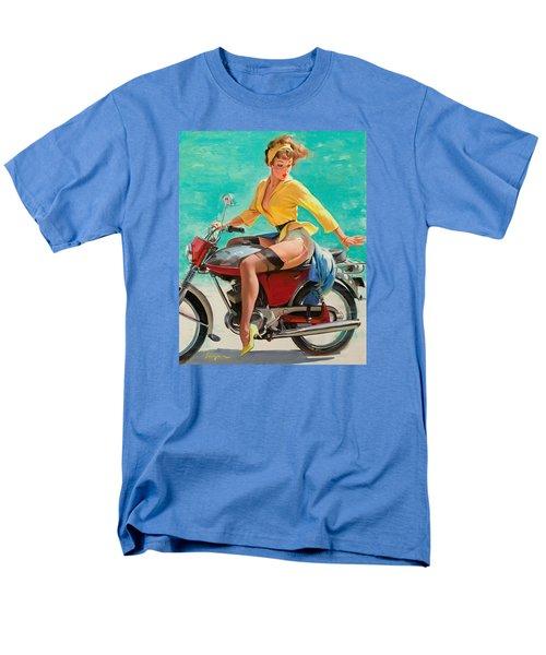 Motorcycle Pinup Girl Men's T-Shirt  (Regular Fit) by Gil Elvgren
