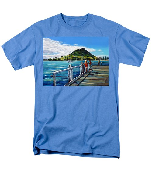 Men's T-Shirt  (Regular Fit) featuring the painting Mt Maunganui Pier 140114 by Selena Boron