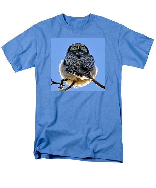 Northern Hawk Owl Looks Around Men's T-Shirt  (Regular Fit) by Torbjorn Swenelius