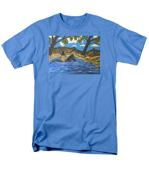 Men's T-Shirt  (Regular Fit) featuring the painting Nude And Bareback Swim by Jeffrey Koss