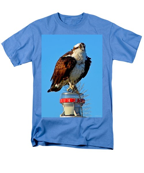 Men's T-Shirt  (Regular Fit) featuring the photograph Osprey Close-up On Water Navigation Aid by Jeff at JSJ Photography